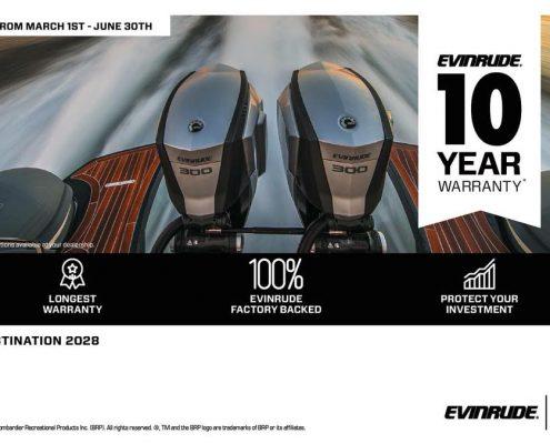 Evinrude garantie 10 ans - destination 2028